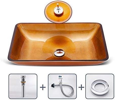 洗面ボウル 現代の幾何学的強化ガラス容器ボウルシンクでゴールドモザイク仕上げのクローム蛇口コンボ、ポップアップシンクドレイン 洗面台 洗面器 (Color : Gold, Size : 57x37x11cm(B))