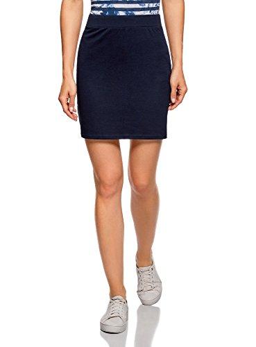 oodji Ultra Women's Basic Jersey Skirt, Blue, 10