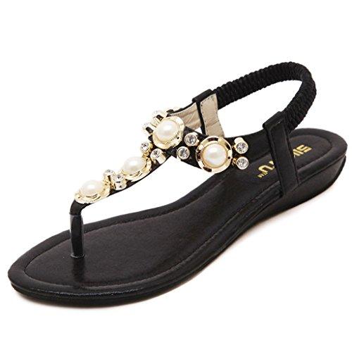 Womens Summer Bohemian Strap Meijili Sandals Flat Beaded Black Ankle R6qx4