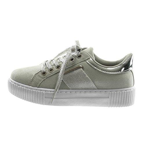 ... Angkorly Damen Schuhe Sneaker - Tennis - Sporty Chic - Plateauschuhe -  Elastisch - Glitzer ... 102d8873e2