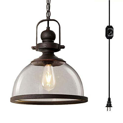 (Kiven 1-Light Plug in Clear Glass Pendant Light,)