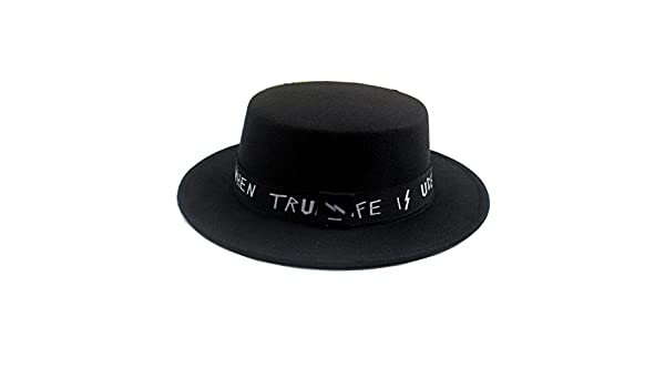 5fa27cfaf88 Amazon.com  Black Classic Fashion Woollen Blend Brim Flat Fedora Hat Derby  Church Cap For Sping Autumn  Sports   Outdoors