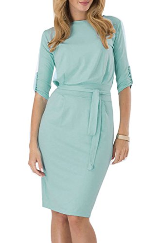 ACHICGIRL Elegant Solid Half Sleeve Waistband Knee Length Dress Light Green