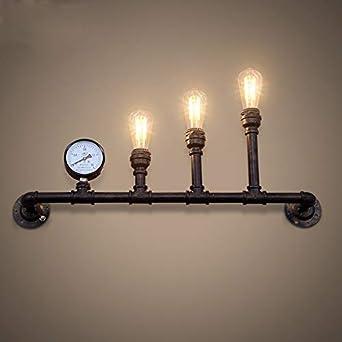 S&shan Lampara de pared, Industrial retro loft hierro tubo de agua luz de pared cafetería