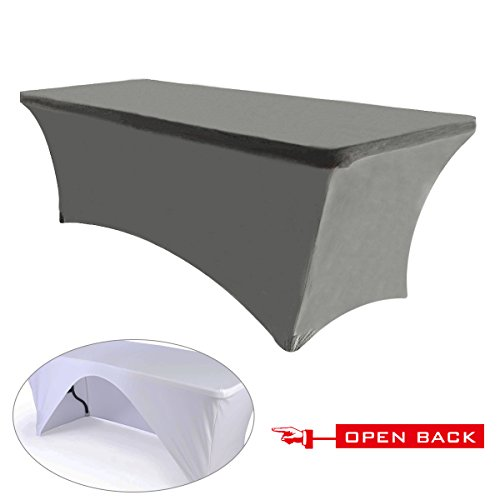 ABCCANOPY 30+ Colors Spandex Table Cover 6 ft. Fitted Polyester Tablecloth Stretch Spandex Tablecover-Table Toppers(Open Back Gray)