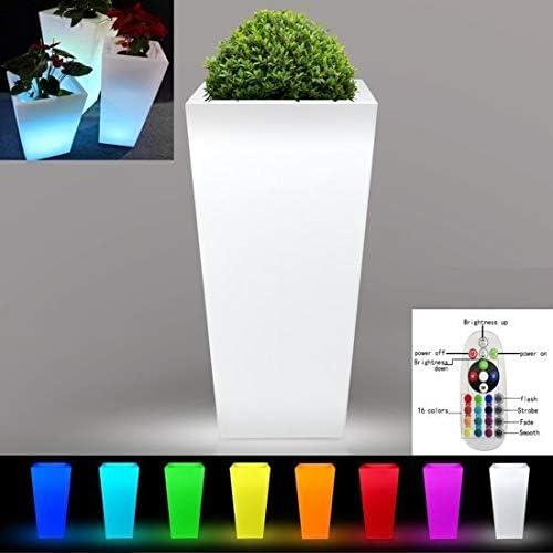 Vaso CachePot Genesis resina luminoso led RGB a batteria esterno 85CM M IN ITALY