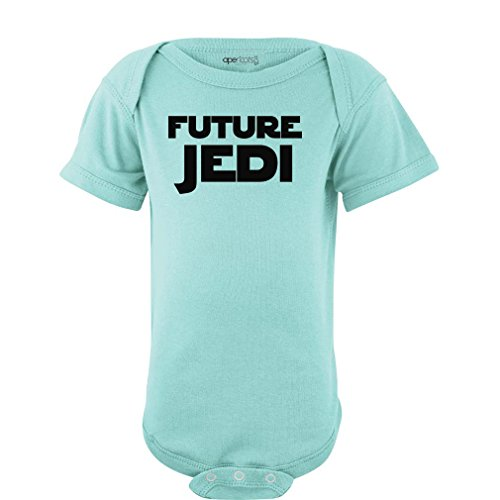 "Apericots Adorable ""Future Jedi"" Soft and Comfy Cute Baby Short Sleeve Cotton Infant Bodysuit (12 Months, Aquamarine)"