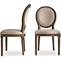 EDVARD - Louis French Upholstered Dining Chairs - Modern Farmhouse Dining Room Chairs - Beige Linen Fabric - Set of 2