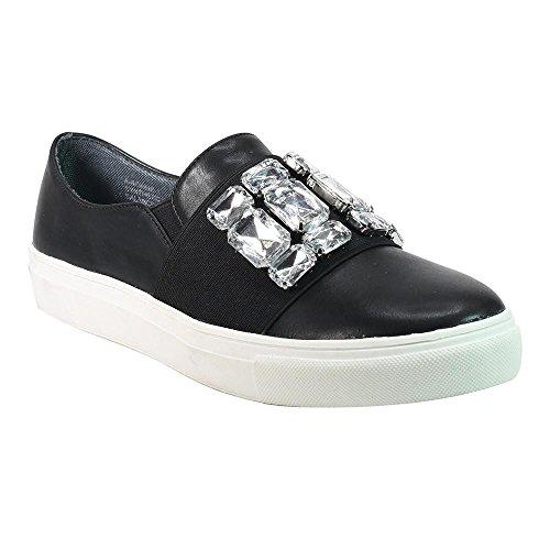 Sneakers Slip-on Angelina Da Donna Con Abbellimento In Strass Nero