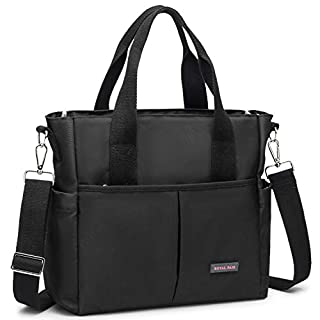 ROYALFAIR Small Diaper Bag for Women with Insulated Aluminum Foil Pocket Mom's Messenger Tote Diaper Bags Purse Black