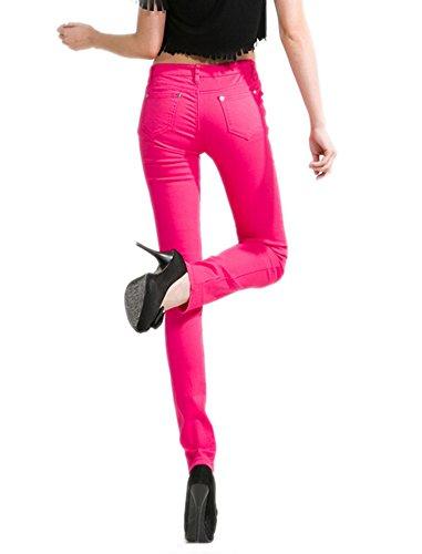 Jeans Jegging Caldo Basic Leg Fit Donne Skinny Stretch Pantaloni Rosa Juniors Deley Solide Oz1vq4
