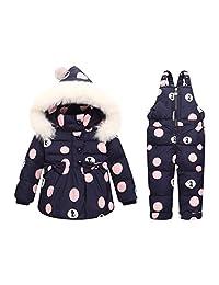 honuansortory Kid's Down Coat Dot Toddler Snowsuit Hooded Down Jacket Baby Boys Girls Winter Thicken Overcoat