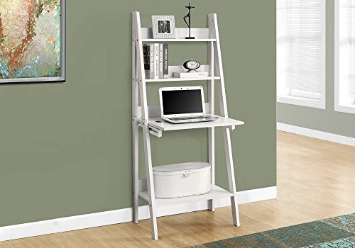 Monarch Specialties I I 7040 High Ladder Bookcase with a Drop-Down Desk, 61