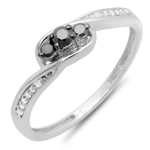 Dazzlingrock Collection 0.25 Carat (ctw) 10k Round Black & White Diamond Ladies 3 Stone Engagement Promise Ring 1/4 CT, White Gold, Size 7.5 ()