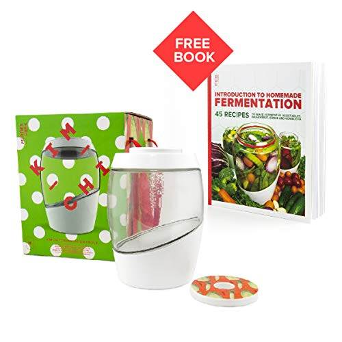 Mortier Pilon - 2L Glass Fermentation Crock + FREE Recipe Book - Make Easy Homemade Fermented Foods (kimchi, pickles, sauerkraut, organic vegetables)