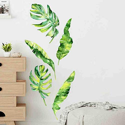 (MSOO Summer Tropical Green Plants Leaves Wall Sticker Vinyl Decals Home Decorations)