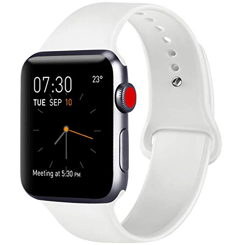ATUP Compatible with for Apple Watch Replacement Band 38mm 40mm 42mm 44mm Women Men, Soft Silicone Band Compatible with for iWatch Series 4, 3, 2, 1 (White, 42mm/44mm-M/L) ()