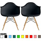 2xhome - Set of Two (2) - Black- Eames Style Armchairs - Natural Wooden Legs Dining Room Chair - Lounge Arm Arms Armed Chair Chairs Armchairs Seat Wood Dowel Leg Legged Base