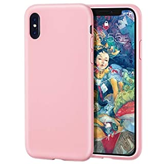 MILPROX iPhone X/Xs Silicone Series Liquid Silicone Gel Rubber Slim Fit Case with Soft Microfiber Cloth Lining Cushion for iPhone X/iPhone Xs-Pink