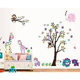 Rainbow Fox XLarge Albero Colorato e Cartoon Animali Adesivi Murali, bella giraffa leone zebra Tiger Scimmia, Camera Dei Bambini Vivai Adesivi da Parete removibili / Adesivi Murali / Decorazione Murale, Set di 2 Fogli