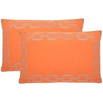 Safavieh Collection Sibine Orange Throw Pillows 12 x 20 Set of 2