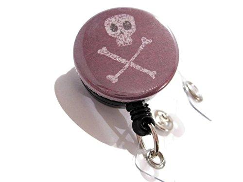 [ATLanyards Skull and Crossbones Badge Holder, Badge Reel, Retractable Lanyard 480] (Cute Halloween Gifts For Coworkers)