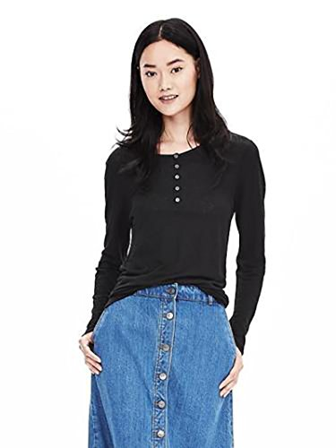 Banana Republic Women's - Solid 100% Linen Long Sleeve Henley Knit Top - Tee (Small, Black) (Banana Republic Black Linen)