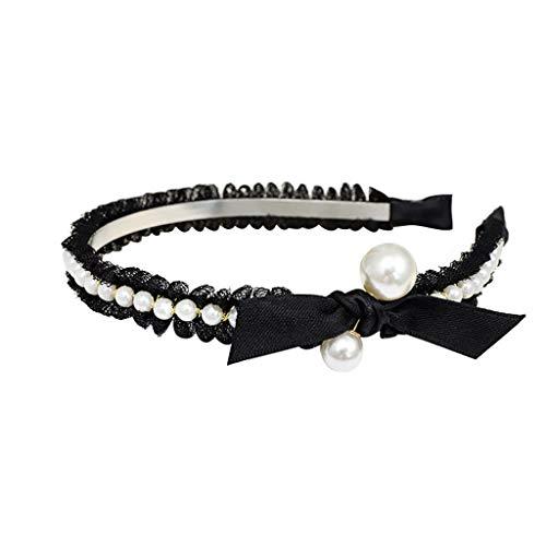 hositor Cute Headbands, Womens Lace Bow Pearl Tie Beading Headband Hairband Bow Knot Cross Tie Headwrap -