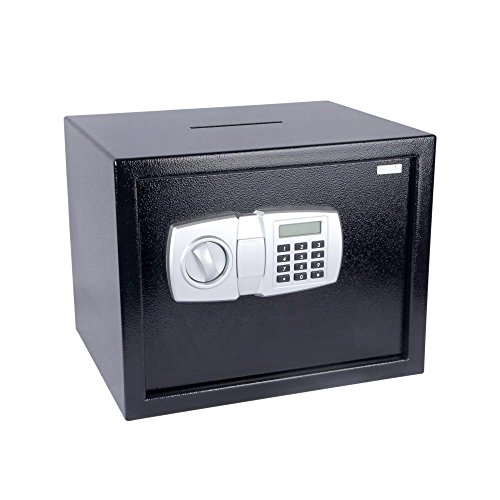 SereneLife Drop Box Safe Box | Safes & Lock Boxes | Front Loading Safe Cash Vault Drop Lock | Safe Security Box | Digital Safe Box | Money Safe Box | Steel Alloy Drop Safe Includes Keys (SLSFE348)