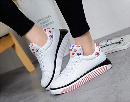EIN Exing Damen Sneakers Womens Academy weiße Schuhe Kleine Schuhe Casual Schuhe Leder Mikrofaser Deck Lace up rZzwArxF