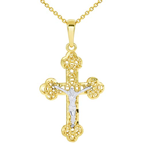 14k Two Tone Gold Textured Filigree Eastern Orthodox Cross 3D Jesus Crucifix Pendant Necklace, 18