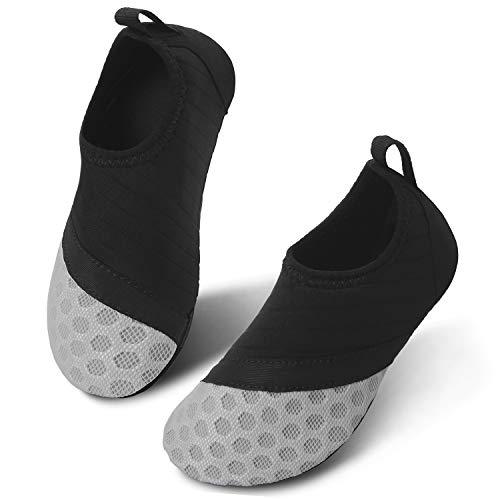 JIASUQI Outdoor Beach Pool Aqua Water Shoes for Kids Boys Girls Black Grey US 2.5-3 M Little Kid (Best Beach Shoes For Kids)