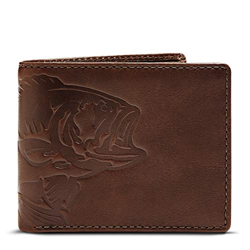 (HOJ Co. BASS FISH Double ID Bifold Wallet-Hand Burnished-Full Grain Mens Leather Wallet - Fish Wallet)