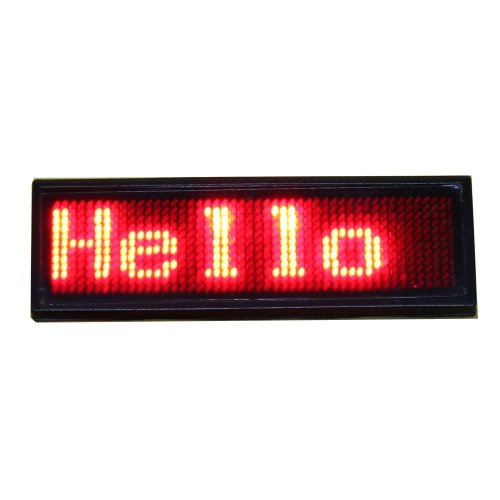 (Leadleds Red Led Name Badge, Scrolling LED Sign Display Id Tag with Magnet and Pins for Bar, Cafe, Restaurant, Retail Store)