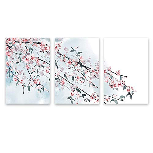 - wall26 - 3 Panel Canvas Wall Art - Ink Painting Style Pink Cherry Blossom on The Branch - Giclee Print Gallery Wrap Modern Home Decor Ready to Hang - 24