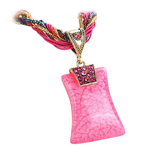 Flower 4 Strand - Statement Necklace,Han Shi Luxury Bohemian Rhinestone Geometric Gem Pendant Jewelry Chain (Pink, L)