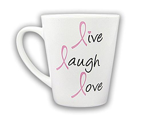 Pink Ribbon Coffee Mug - Live, Laugh, Love (Retail)
