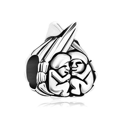 Pugster Vintage Wing Holding Two Baby Angels Heart Love European Charm Sale Cheap Jewelry Beads Compatible Pandora Charm ()