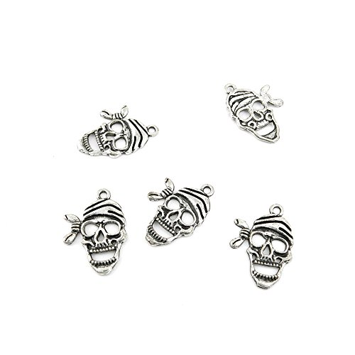 30 Pieces Jewelry Making Charms BBTG09 Pirates Skull Pendant Ancient Silver Findings Craft Supplies Bulk Lots (Skull Pirate Charm)
