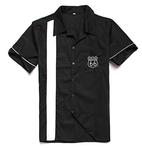 Route 66 embroidery bowling shirts 50s rock n roll mens rockabilly vintage X-Large ()