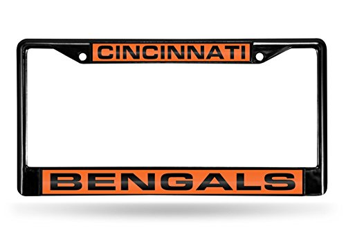 Rico Industries NFL Cincinnati Bengals Laser Cut Inlaid Standard Chrome License Plate Frame, 6