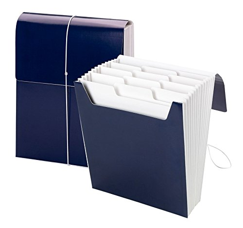 Smead Organized Up Vertical Expanding File with Super Tab, 12 Pockets, Monaco Blue (70701)