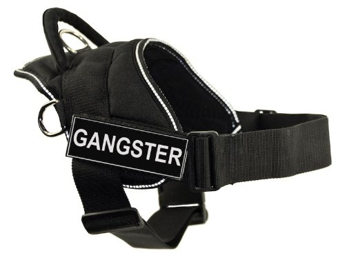 DT Fun Harness, Gangster, Black with Reflective Trim, Large - Fits Girth Size: 32-Inch to -