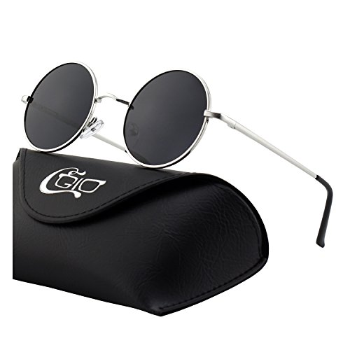 931c304368 CGID E01 Pequeño Estilo Vintage Retro Lennon inspirado círculo metálico  redondo gafas de sol polarizadas para
