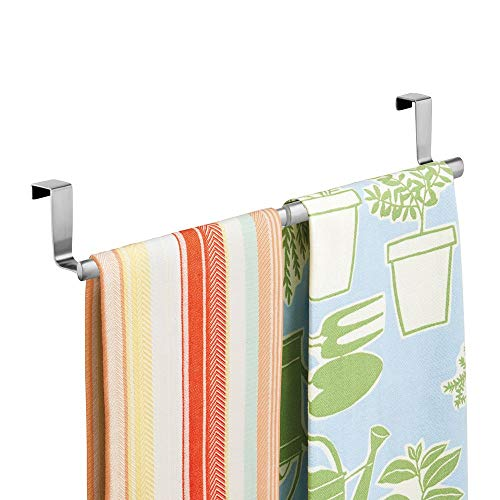 (mDesign Adjustable, Expandable Kitchen Over Cabinet Towel Bar - Hang on Inside or Outside of Doors, Storage for Hand, Dish, Tea Towels - 9.25