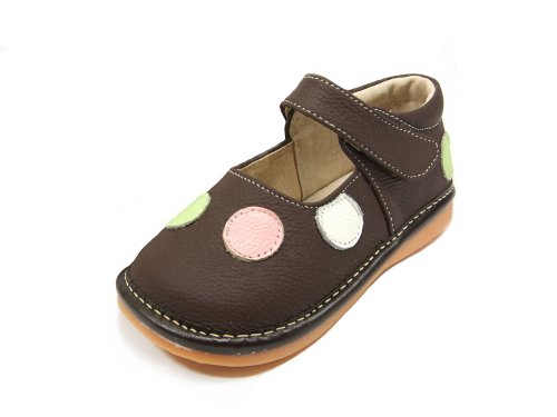 (HLT Toddler/Little Kid Girl Polka-dot Brown Squeaky Shoe [US 8 / EU)