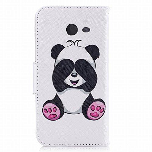 LEMORRY Funda Samsung Galaxy J5 (2017) Carcasa Tapa Bumper Bolsa Piel Cuero Flip Cover Billetera Con Clips de Dinero Slim Protector Magnética Cierre TPU Silicona Estuches, Cute Panda Panda