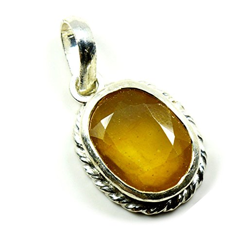 55Carat Natural Genuine Yellow Sapphire Pendant 3 Carat Oval in 92.5 Sterling Silver