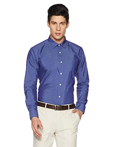 Amazon Brand – Symbol Men's Solid Slim Fit Full Sleeve Formal Shirt (AW17MFS36_Royal_40)