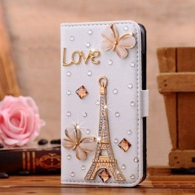Luxury 3D Fashion Bling Diamond Bow PU Flip Wallet Leather Case Cover For Smart Mobile Phones (ZTE ZMax Z970 , Tower (Zte Zmax Phone Case Z970)